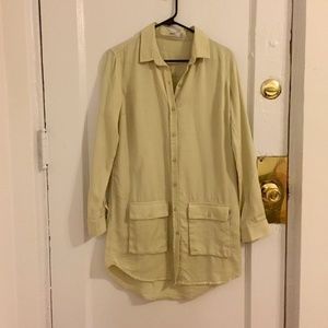 Chartreuse Obey Button-Down Dress
